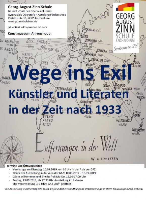 """Ausstellung """"Wege ins Exil"""" in der Aula der GAZ"""